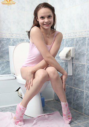 Toilet on nude sitting girls